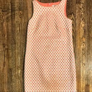J.Crew 00 Gold Coral  Embroidered Shift Dress $140
